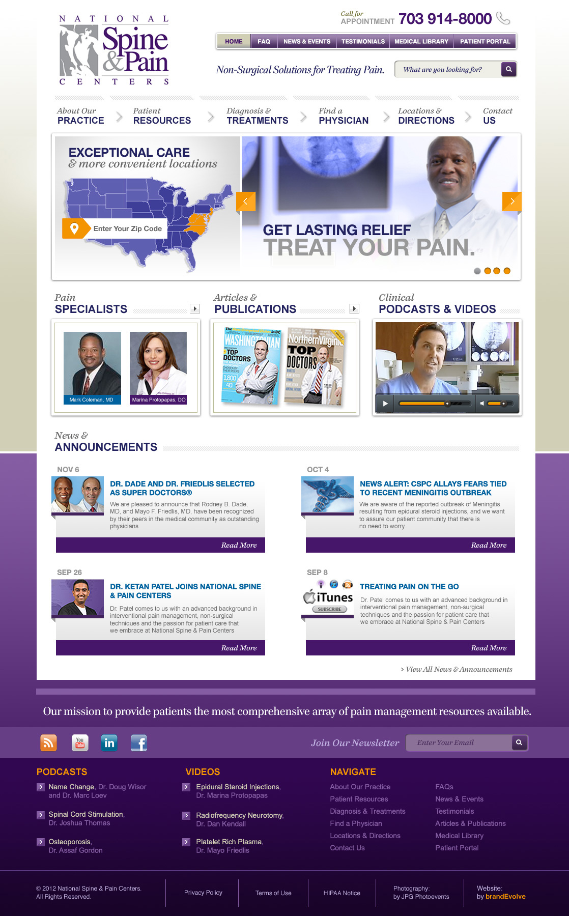 National Spine & Pain Centers    Corporate Brand Strategy, Custom Website Design, Marketing Campaigns   WordPress Implementation